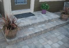 Tumbled paver patio ashlar pattern