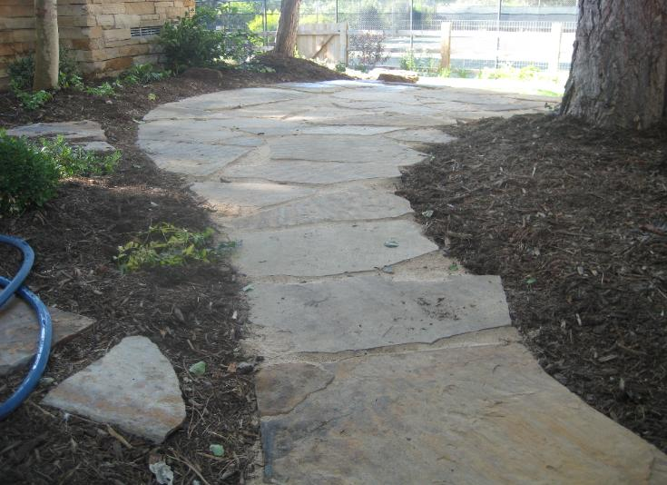 rustic flagstone path and patio