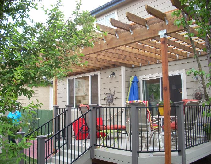 gray deck and pergola