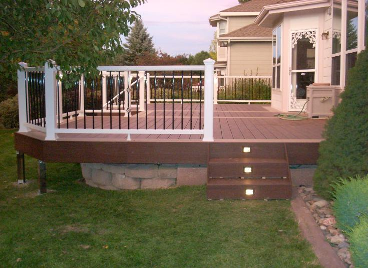 brown composite deck with lights