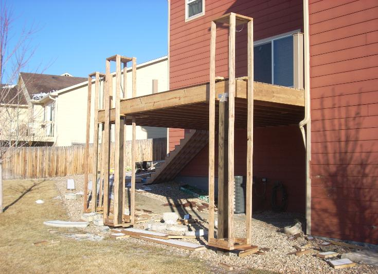 Deck and pillars under construction
