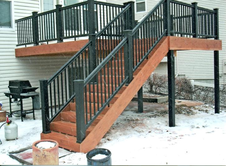 Red composite deck